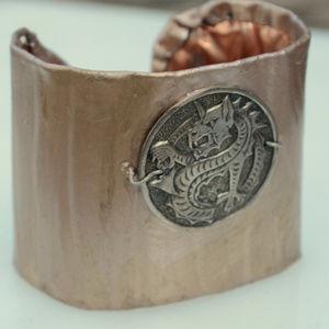 Rose Gold Dragon Statement Wide Cuff Bracelet